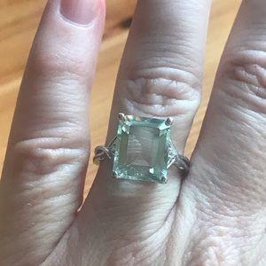 Jewelry - Emerald Cut Green Amethyst Sterling Silver Ring